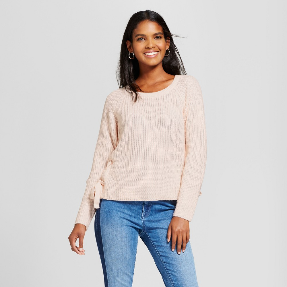 Womens Side Lace-Up Sweater - Cliché Pink L