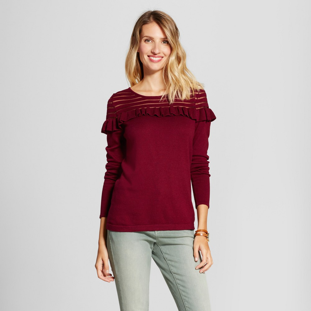 Womens Pullover Ruffle Sweater with Sheer Stripe - August Moon Berry XL, Red