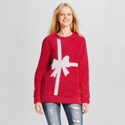 Women's Sequin Present Bow Ugly Christmas Sweater Sherpa Tunic ...