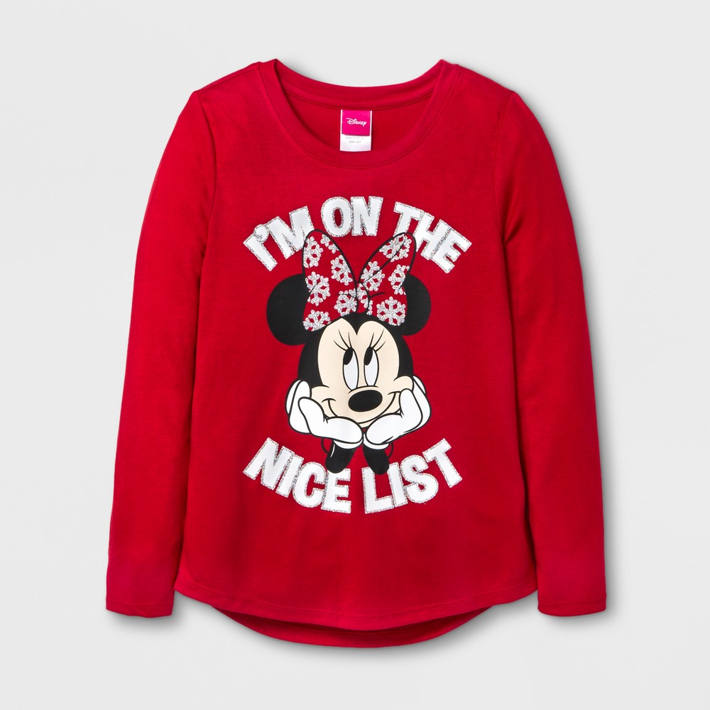 Girls Disney Minnie Mouse Im On The Nice List Graphic Long Sleeve T-Shirt - Red S