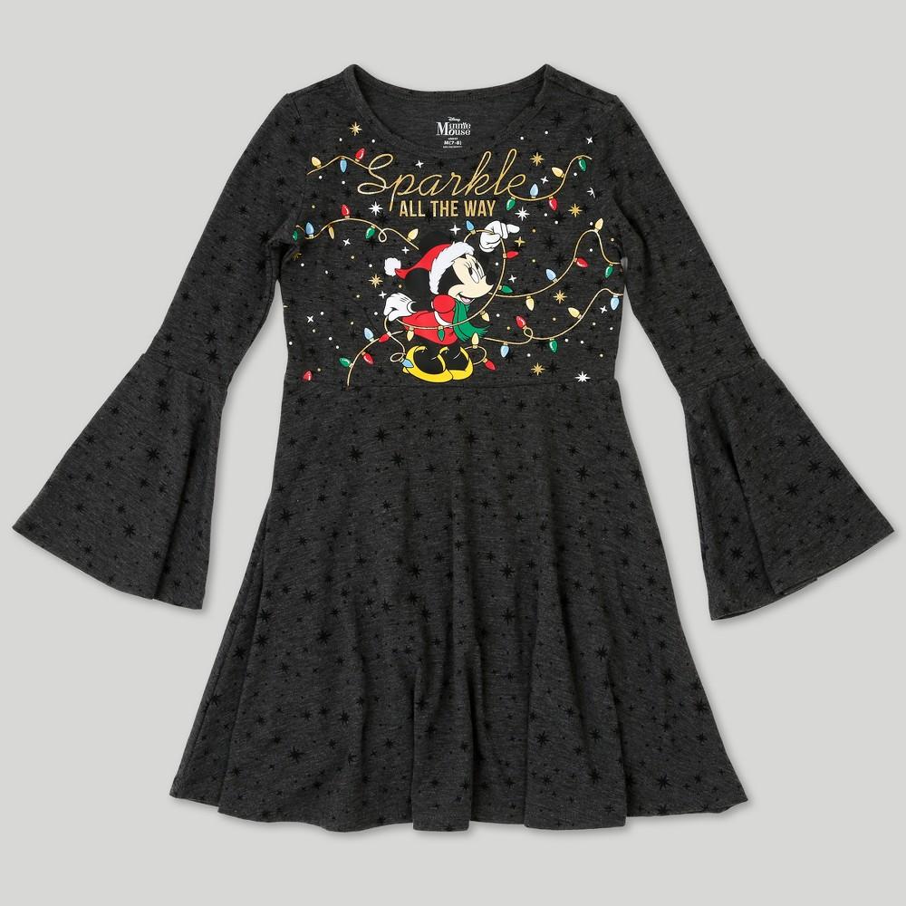 Girls Disney Minnie Mouse Long Sleeve Dress - Charcoal Heather S, Gray