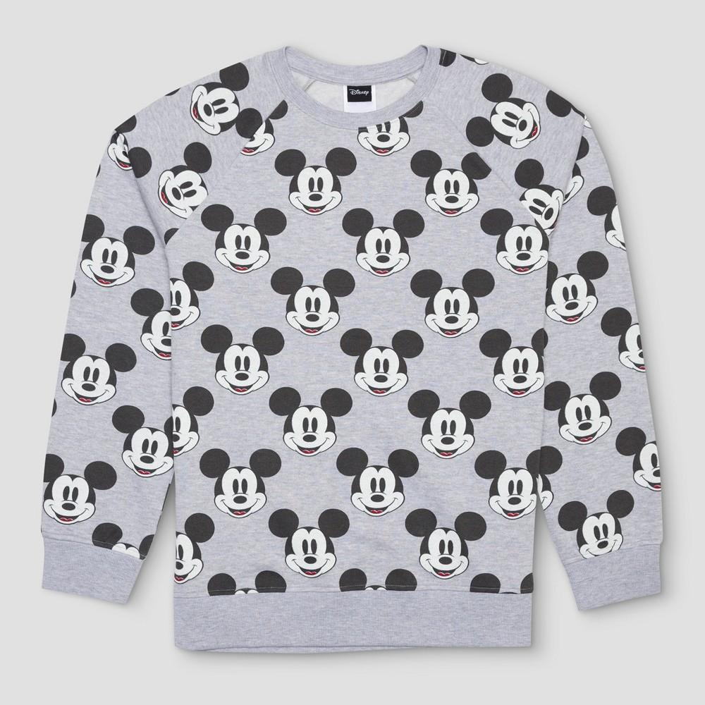 Mens Disney Mickey Mouse Print Crew Neck Sweatshirt - Heather Gray XL