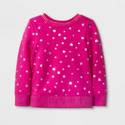 Toddler Girls' Valentine's Day Pullover - Cat & Jack™ Magenta 12M