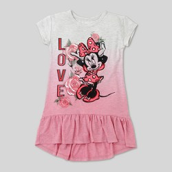 Toddler Girls' Minnie Mouse Ruffle Dress - Oatmeal Heather