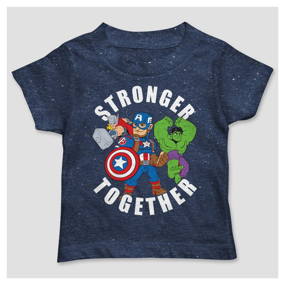Toddler Boys Marvel Stronger Together Hero Group T-Shirt - Navy - 3T, Blue