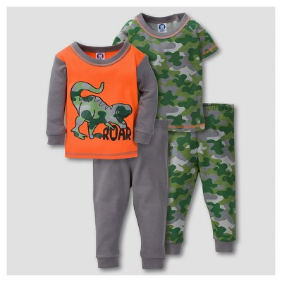 Gerber® Baby Boys' 4pc Camo Dinosaur Mix N' Match Snug Fit Cotton Pajama Set - Orange 12M