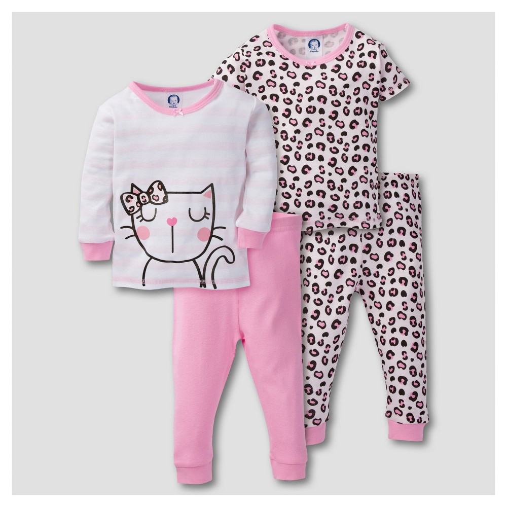 Gerber Baby Girls 4pc Kitty Leopard Print Mix N Match Snug Fit Cotton Pajama Set - Pink 12M, Size: 12 M
