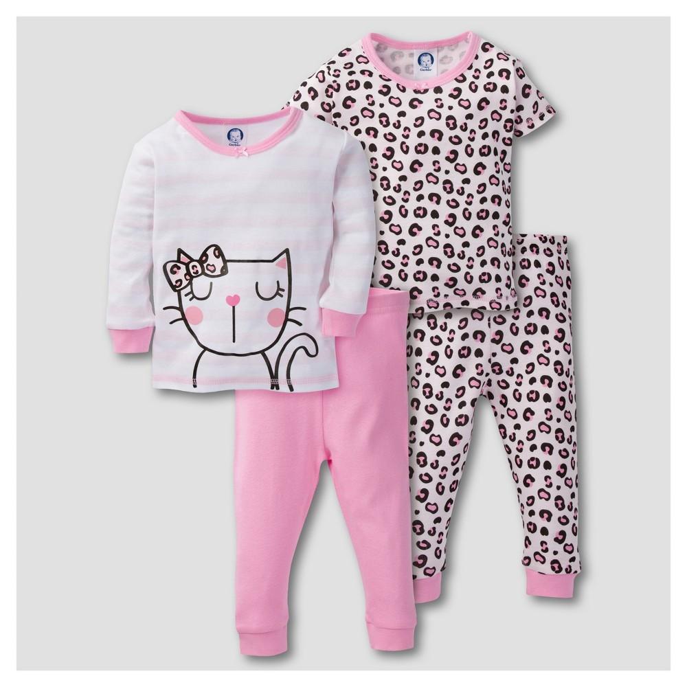 Gerber Baby Girls 4pc Kitty Leopard Print Mix N Match Snug Fit Cotton Pajama Set - Pink 24M, Size: 24 M