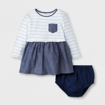 Baby Girls' Striped Shirt Dress - Cat & Jack™ Stripe/Chambray 6-9 M