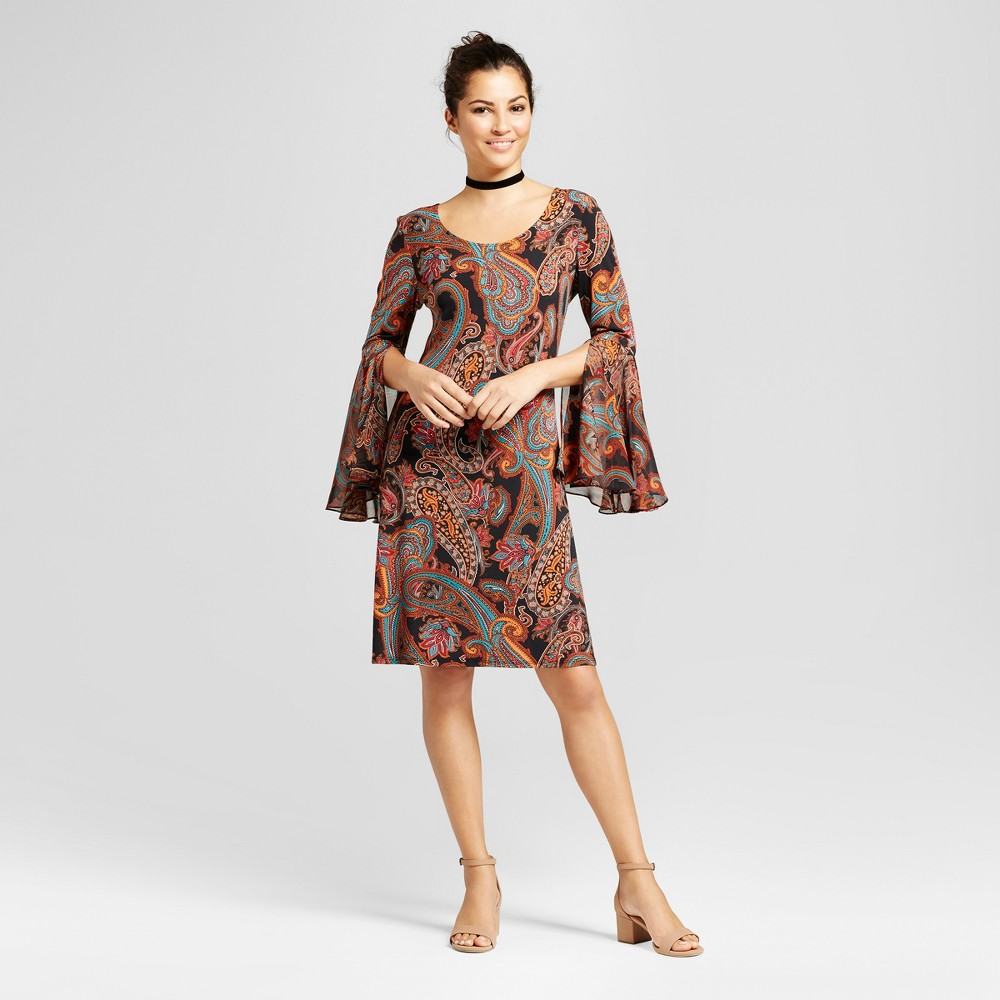 Womens Printed Shift Dress with Woven Trumpet Sleeve - Chiasso Rust Combo S, Orange