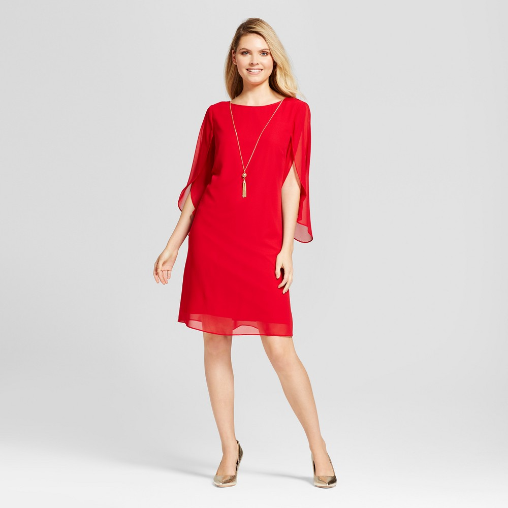 Womens Chiffon Sleeve Shift Dress with Necklace - Chiasso Red 14