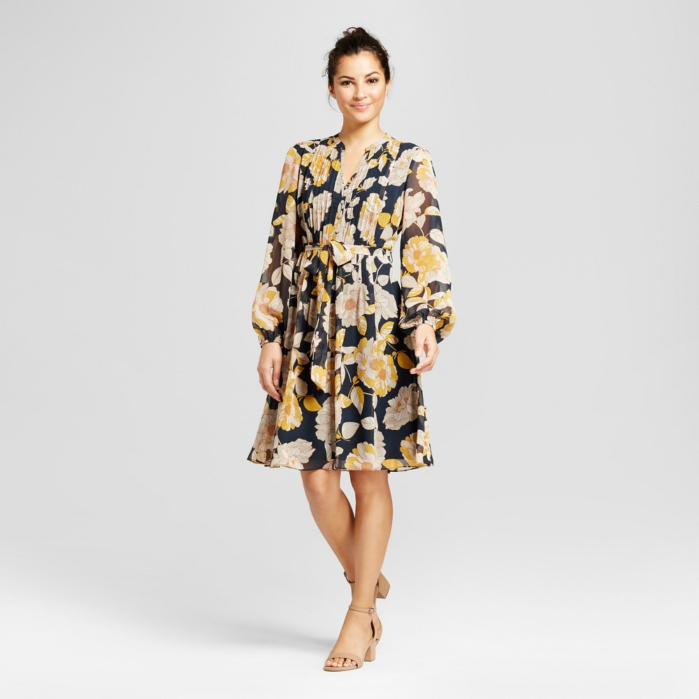 Womens Floral Printed Pintuck Shirt Dress with Chiffon Sleeve - Chiasso Navy Combo 6, Blue