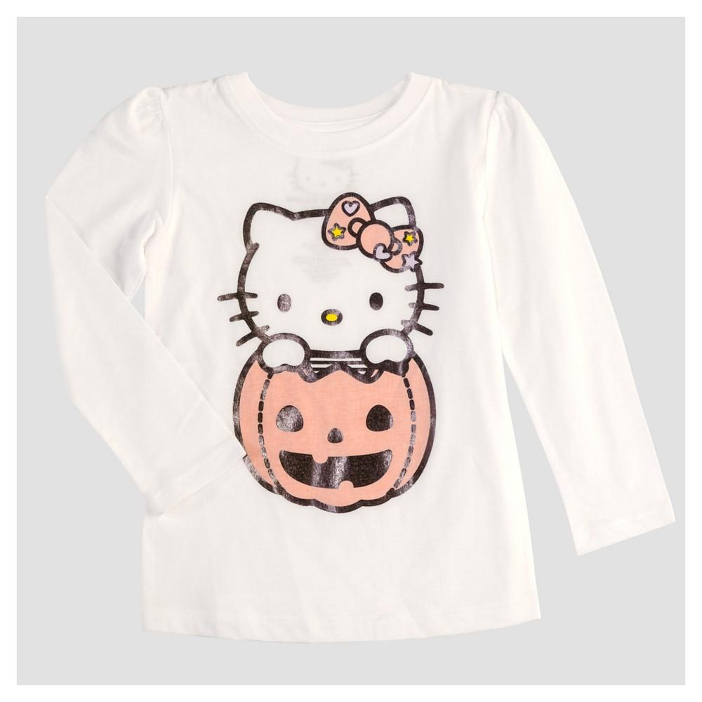 Toddler Girls' Hello Kitty Long Sleeve T-Shirt - White 5T