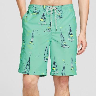 Men's Board Shorts Sailboats Print 9  - Goodfellow & Co™ Mint L