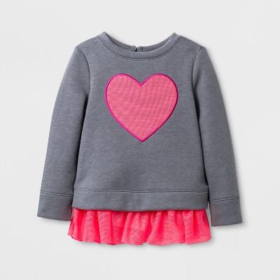Toddler Girls' Valentine's Day Pullover - Cat & Jack™ Gray/Pink 12M