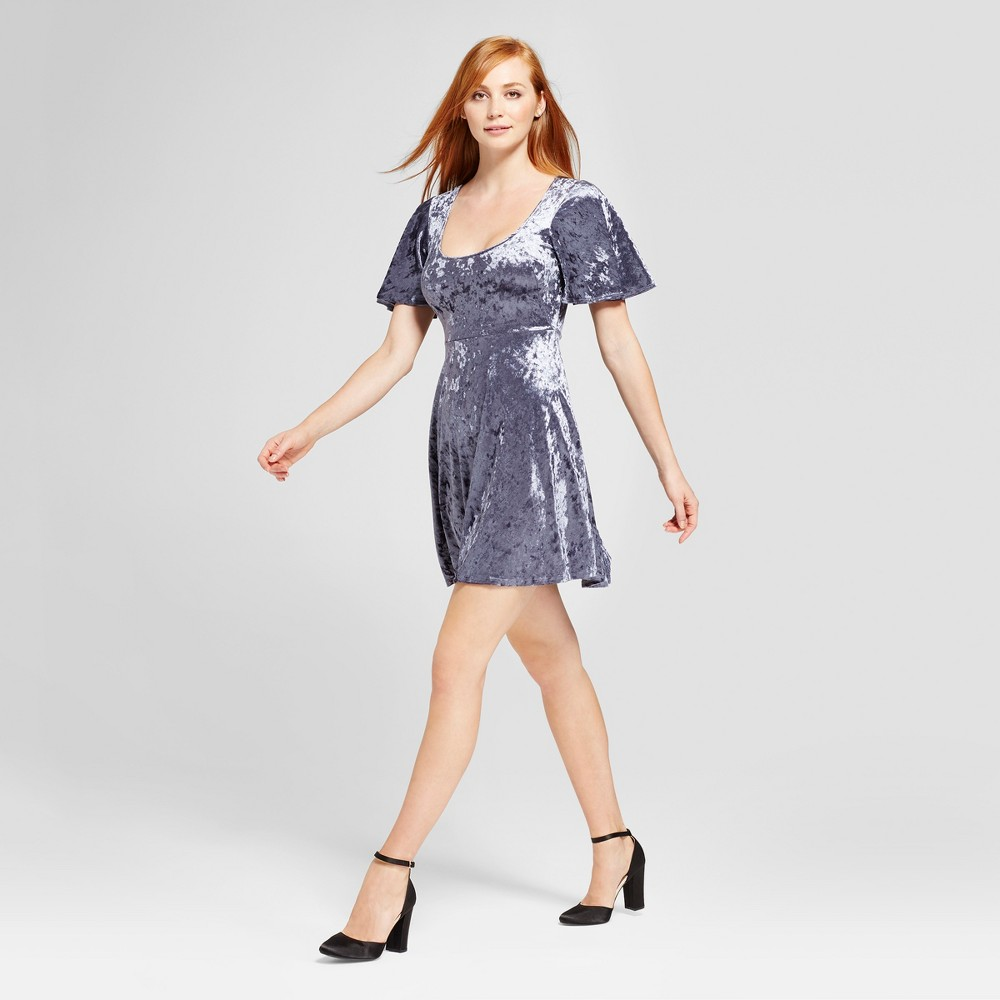 Womens Velvet Scoop Neck Fit & Flare Dress - Vanity Room Blue S