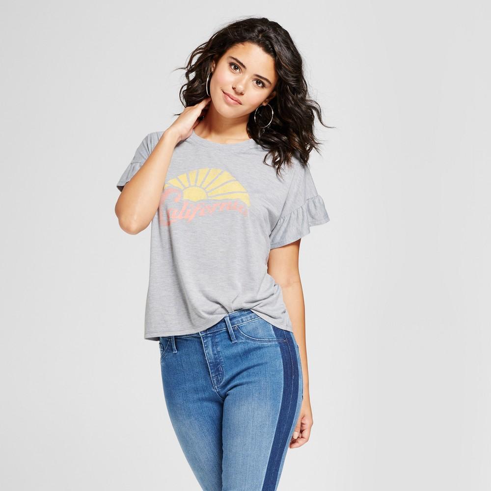 Womens California Short Sleeve Ruffle Graphic T-Shirt - Grayson Threads (Juniors) Gray XL