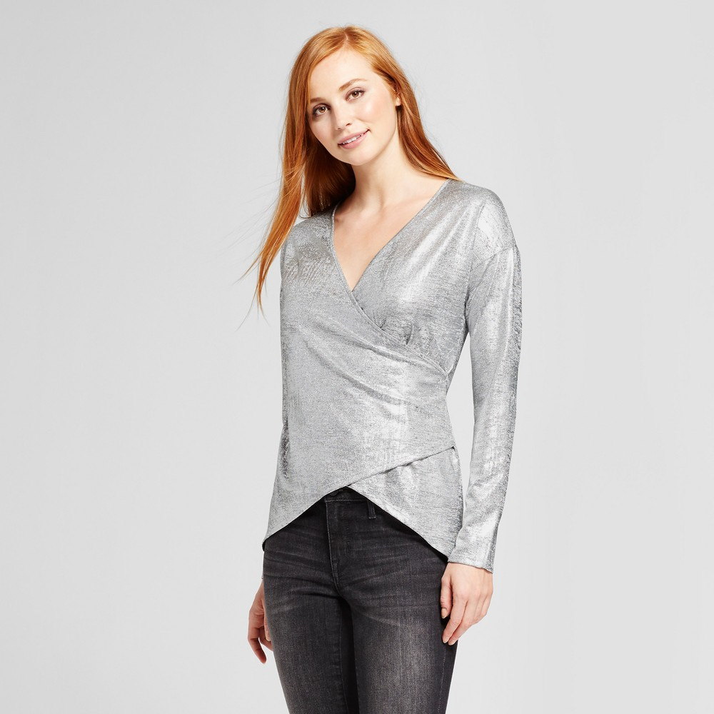 Womens Foil Sweater Knit Tunic - Vanity Room Silver M