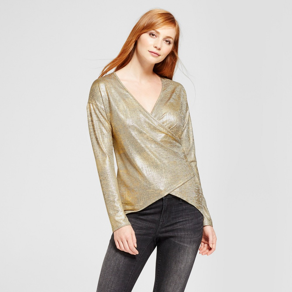 Womens Foil Sweater Knit Tunic - Vanity Room Gold S
