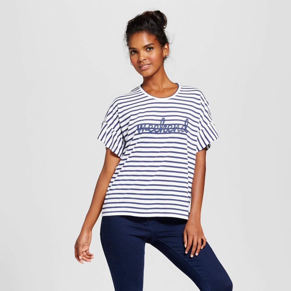 Womens Weekend Short Sleeve Ruffle Graphic T-Shirt - Grayson Threads (Juniors) Navy/White S, Blue