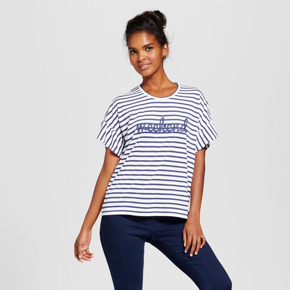 Womens Weekend Short Sleeve Ruffle Graphic T-Shirt - Grayson Threads (Juniors) Navy/White XL, Blue