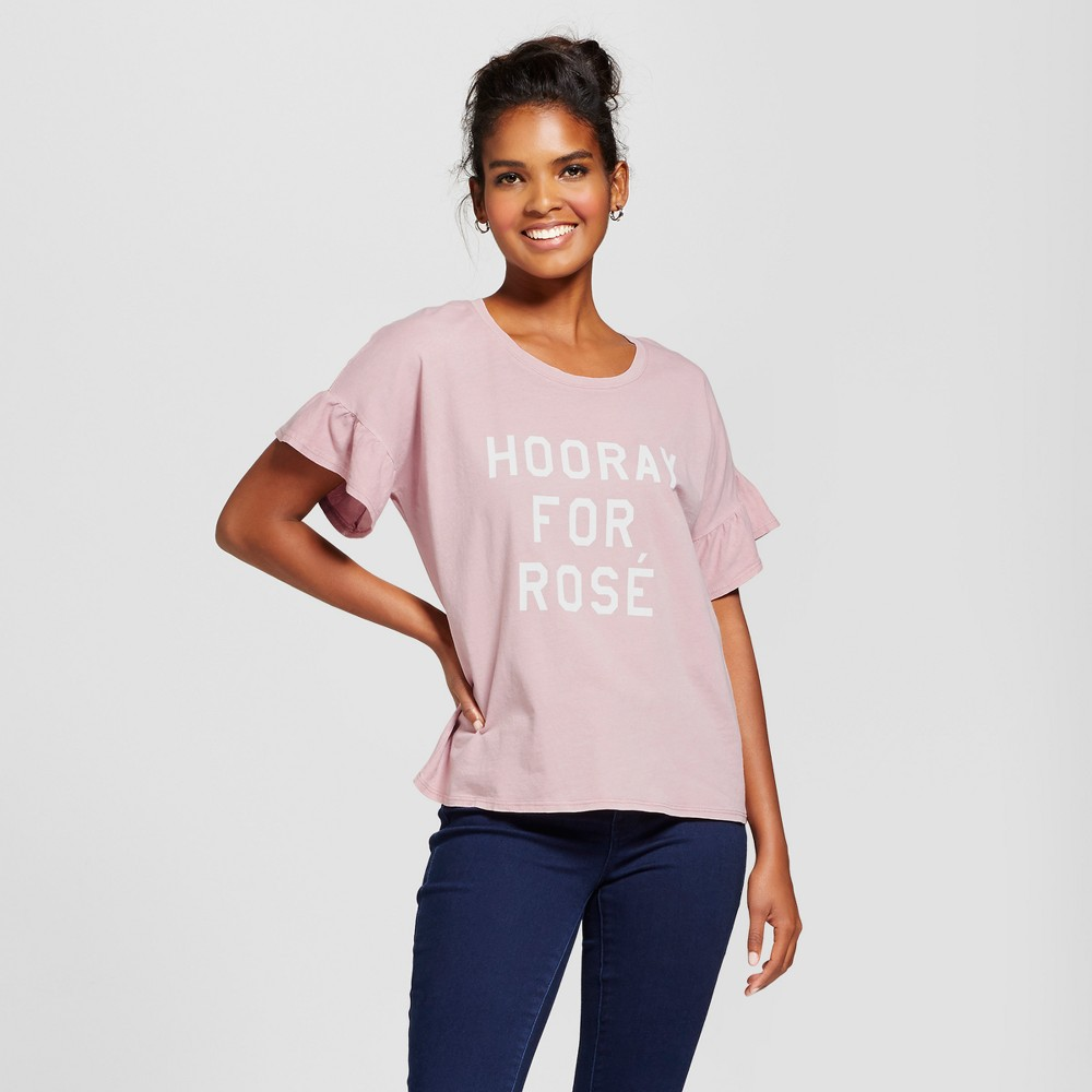 Womens Hooray For Rose Short Sleeve Ruffle Graphic T-Shirt - Grayson Threads Gray M, Purple