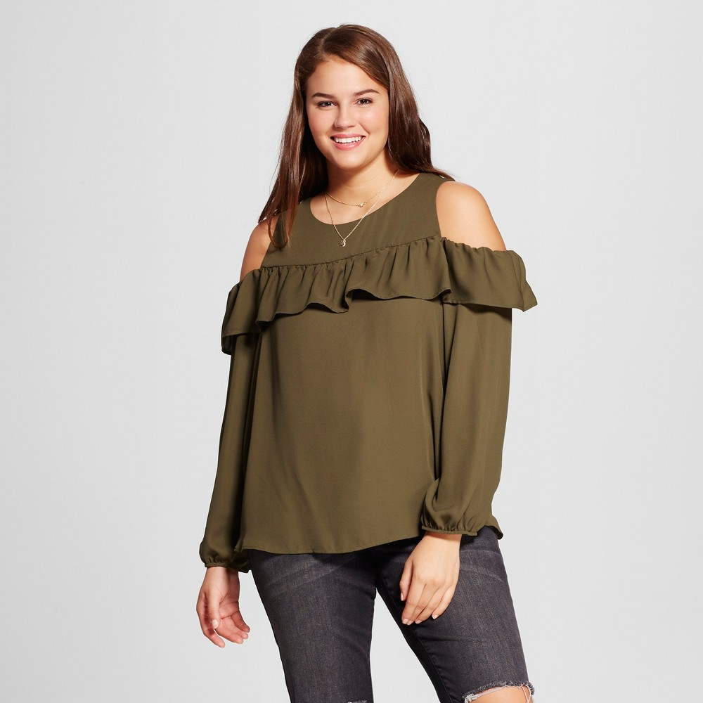 Womens Plus Size Cold Shoulder Long Sleeve Blouse - Grayson Threads (Juniors) Green 1X