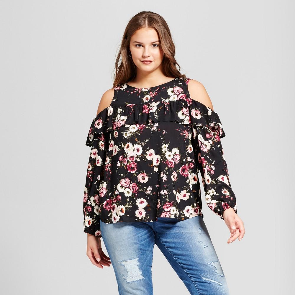 Womens Plus Size Floral Cold Shoulder Long Sleeve Top - Grayson Threads (Juniors) Black 1X