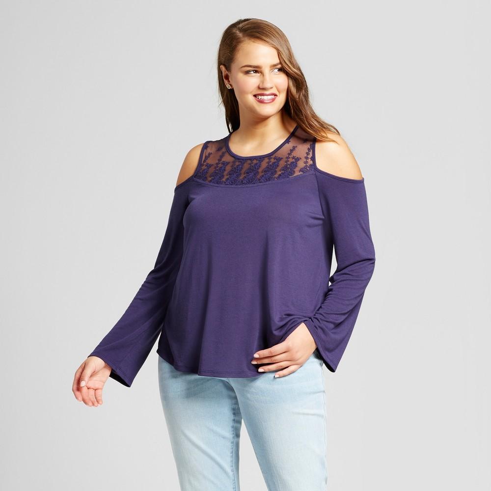 Womens Plus Size High Neck Cold Shoulder Blouse - Grayson Threads (Juniors) Blue 1X