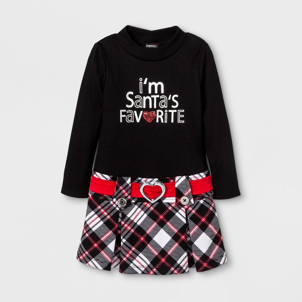 Zenzi Toddler Girls Santas Favorite A Line Dress - Black 2T