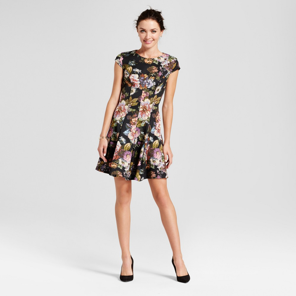 Womens Floral Printed Fit and Flare Dress - Melonie T Black Multi 12