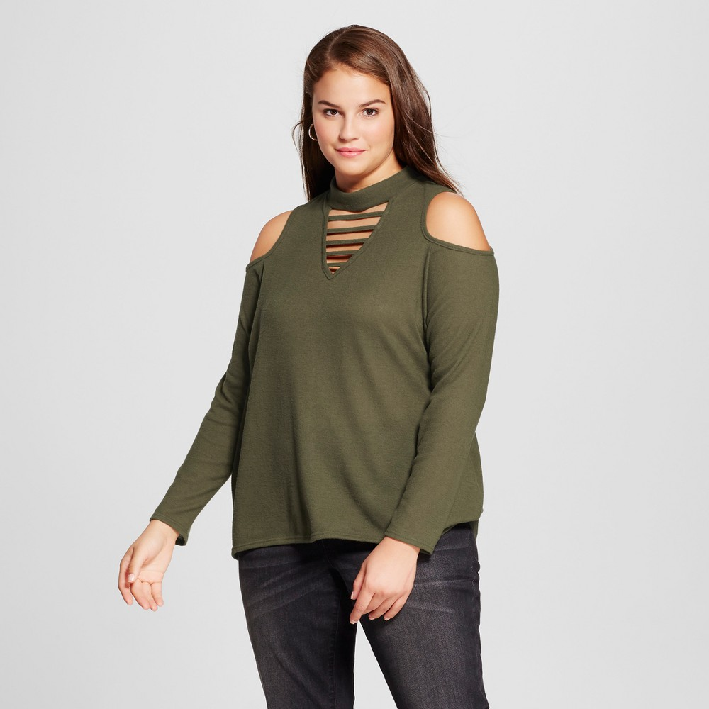 Womens Plus Size High Neck Cold Shoulder Cozy Blouse - Grayson Threads (Juniors) Green 2X