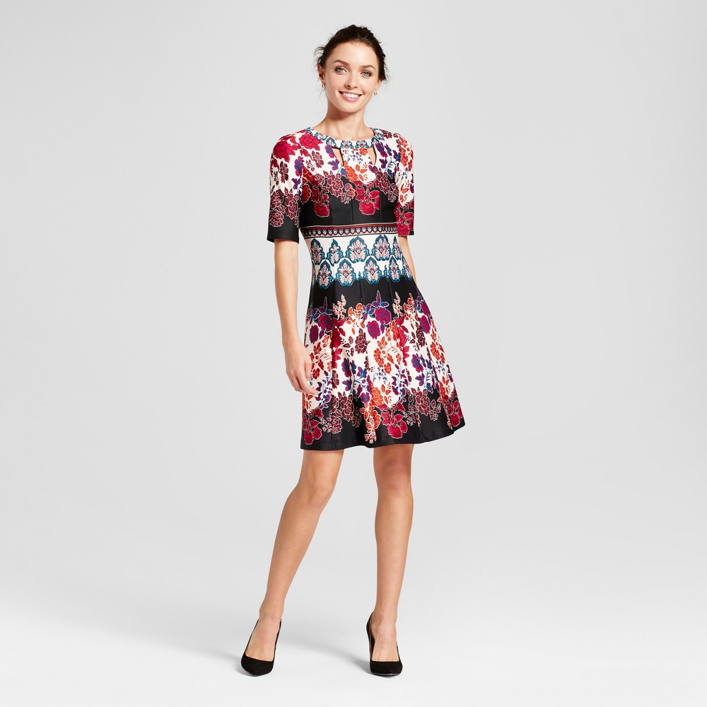 Womens Mixed Printed Fit and Flare Dress with Cutouts - Melonie T Black/Purple 10