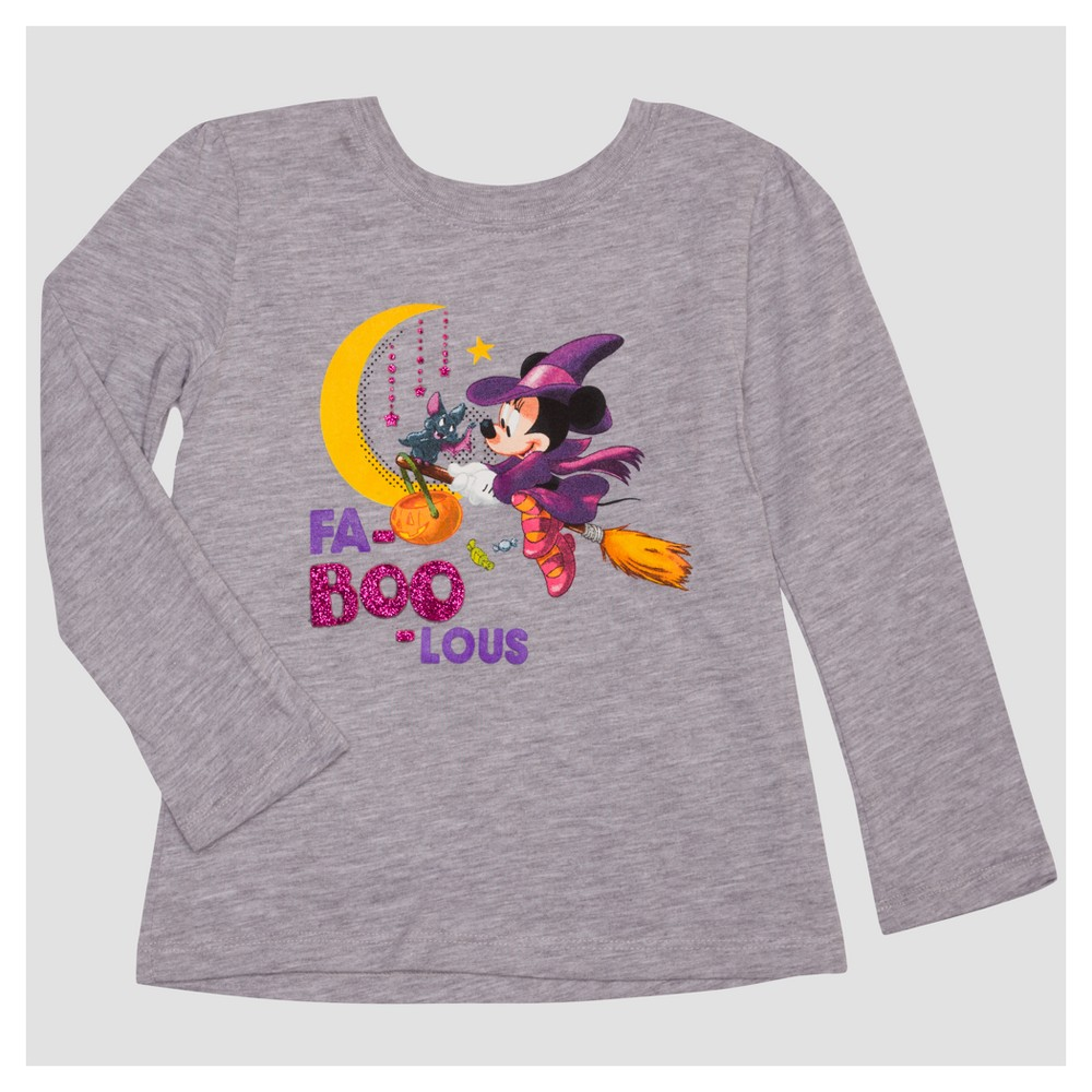 Toddler Girls Minnie Mouse Long Sleeve T-Shirt - Heather Gray 5T