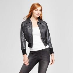 Women's Vegan Leather Moto Jacket - K by Kersh Black