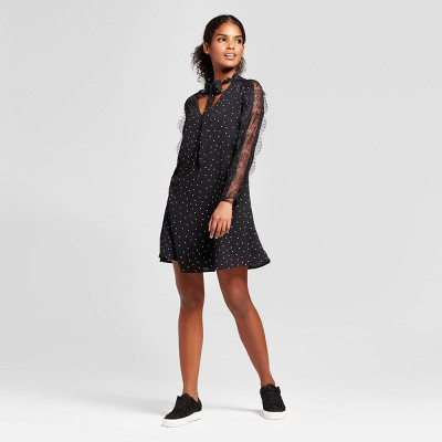 Women's Printed Lace Panel Sleeve Tie Neck Shift Dress   K By Kersh® Black by K By Kersh