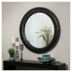 Clio Leather Round Wall Mirror - Abbyson