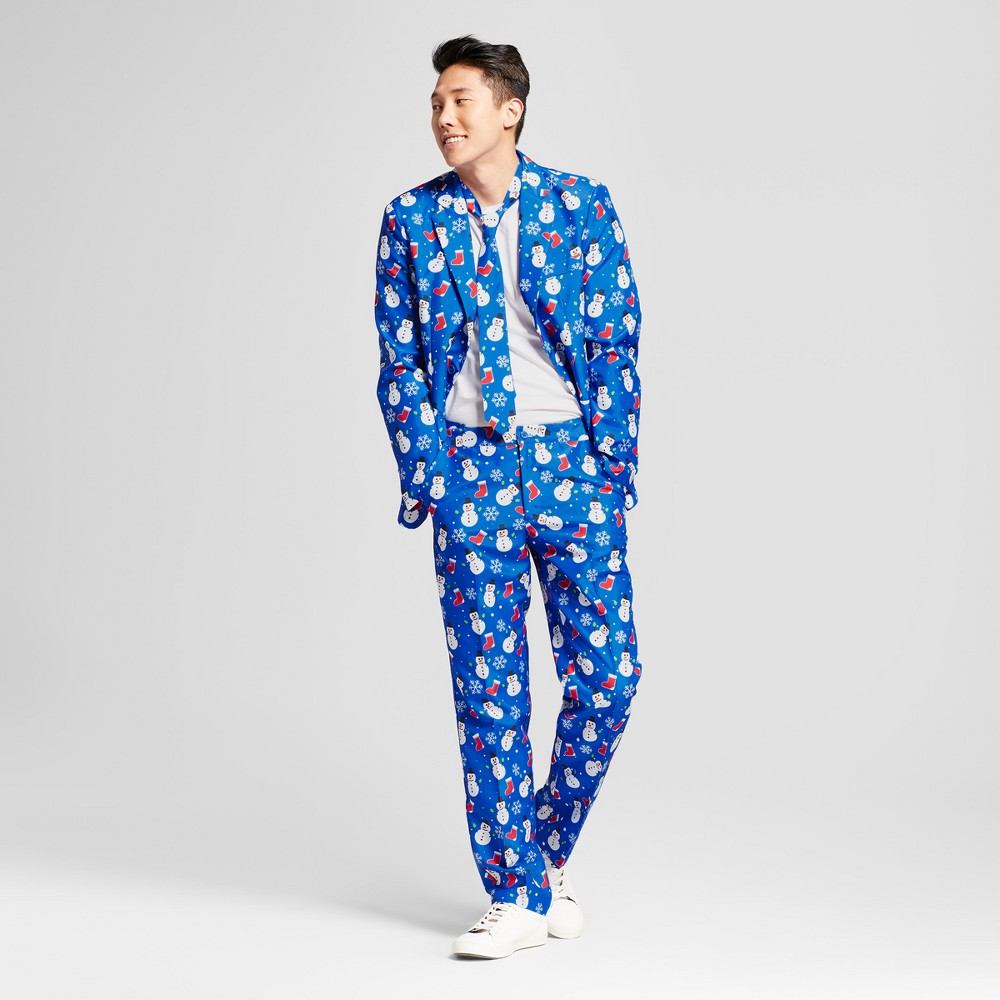 Men's Blue Snowman Suit Coats - Suitmeister Blue L Find Costumes, Accessories and Props at Target.com! Go to your next holiday party with some frosty-cool style by wearing the Snowman Suit with Tie. Pair this fun holiday formalwear with snazzy shoes and a white button-up shirt like you would any other suit, or wear it with a white crewneck tee and sneakers for a goofy, low-key look. The snowman top hat is optional. Size: L. Color: Blue. Gender: Male. Age Group: Adult.
