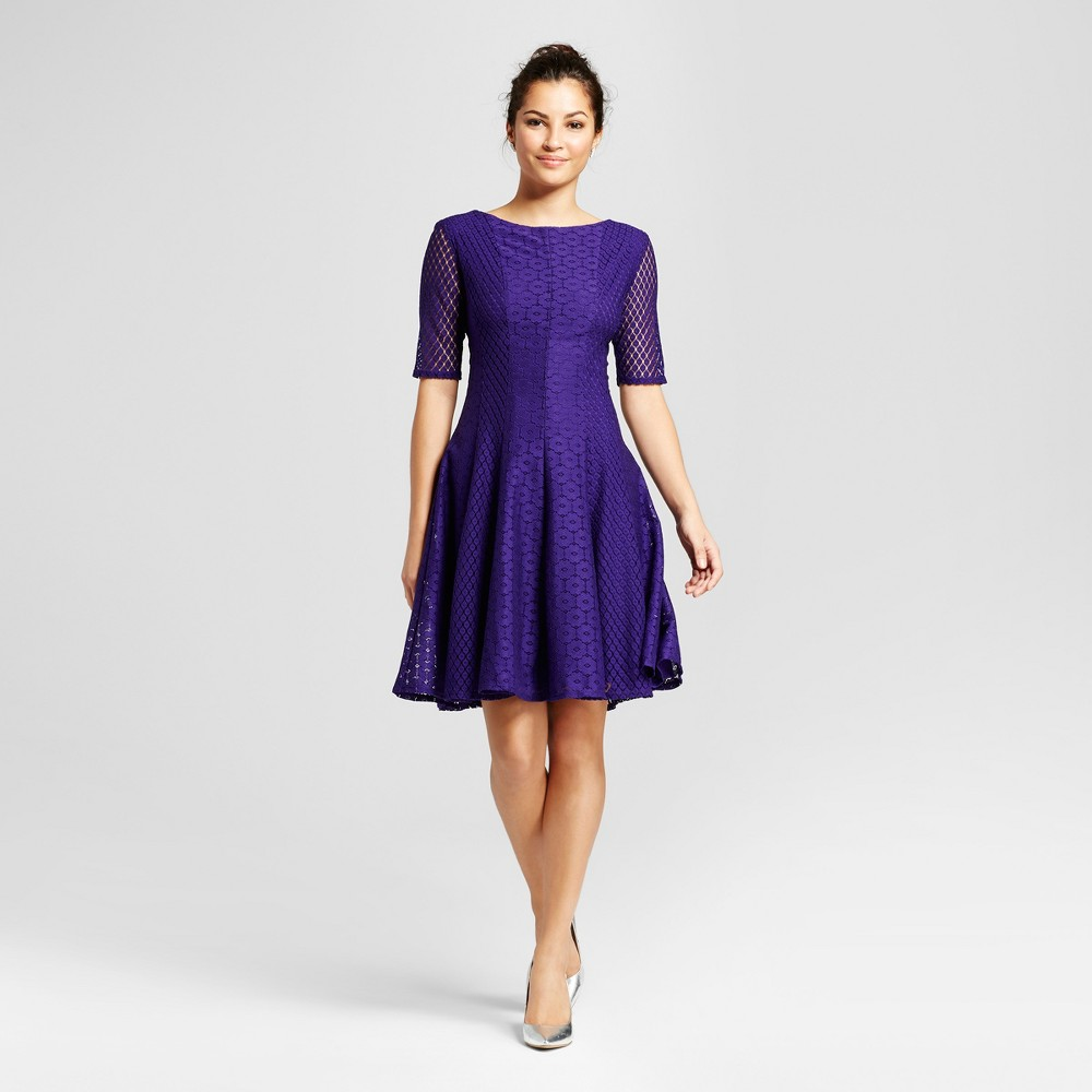 Womens Printed Lace Fit and Flare Dress - Melonie T Purple 6