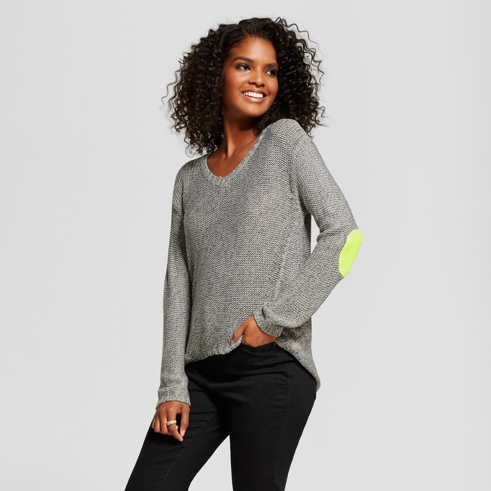 Womens Neon Elbow Patch V-Neck Pullover Sweater - nitrogen Gray XS