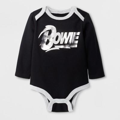 Baby Boys' David Bowie Long Sleeve Bodysuit - Black 6-9M