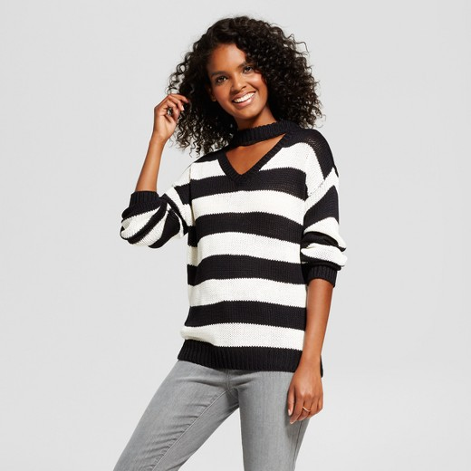 Women's Striped Choker V-Neck Pullover Sweater - nitrogen® Black ...