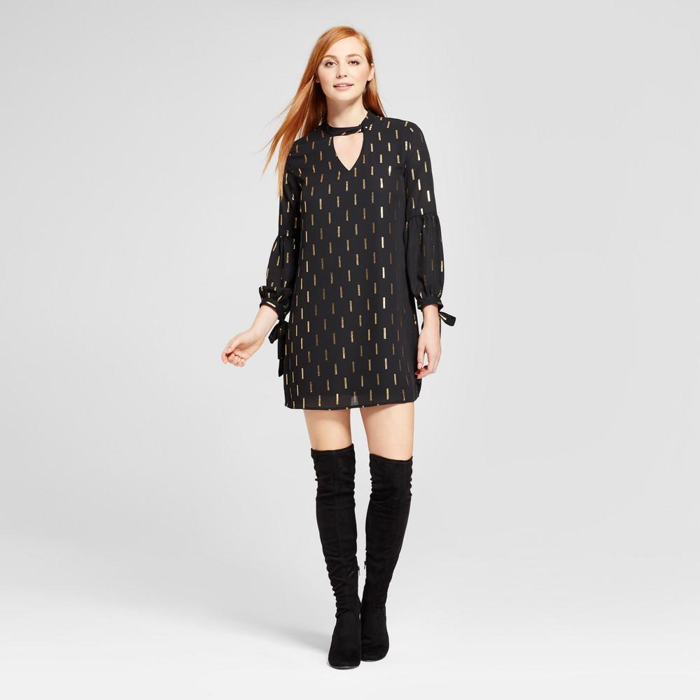 Womens Choker Neck Lurex Printed Shift Dress - Éclair Black L