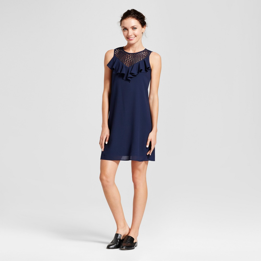 Womens Ruffle Lace Trapeze Dress with Illusion Neck - Melonie T Navy 12, Blue