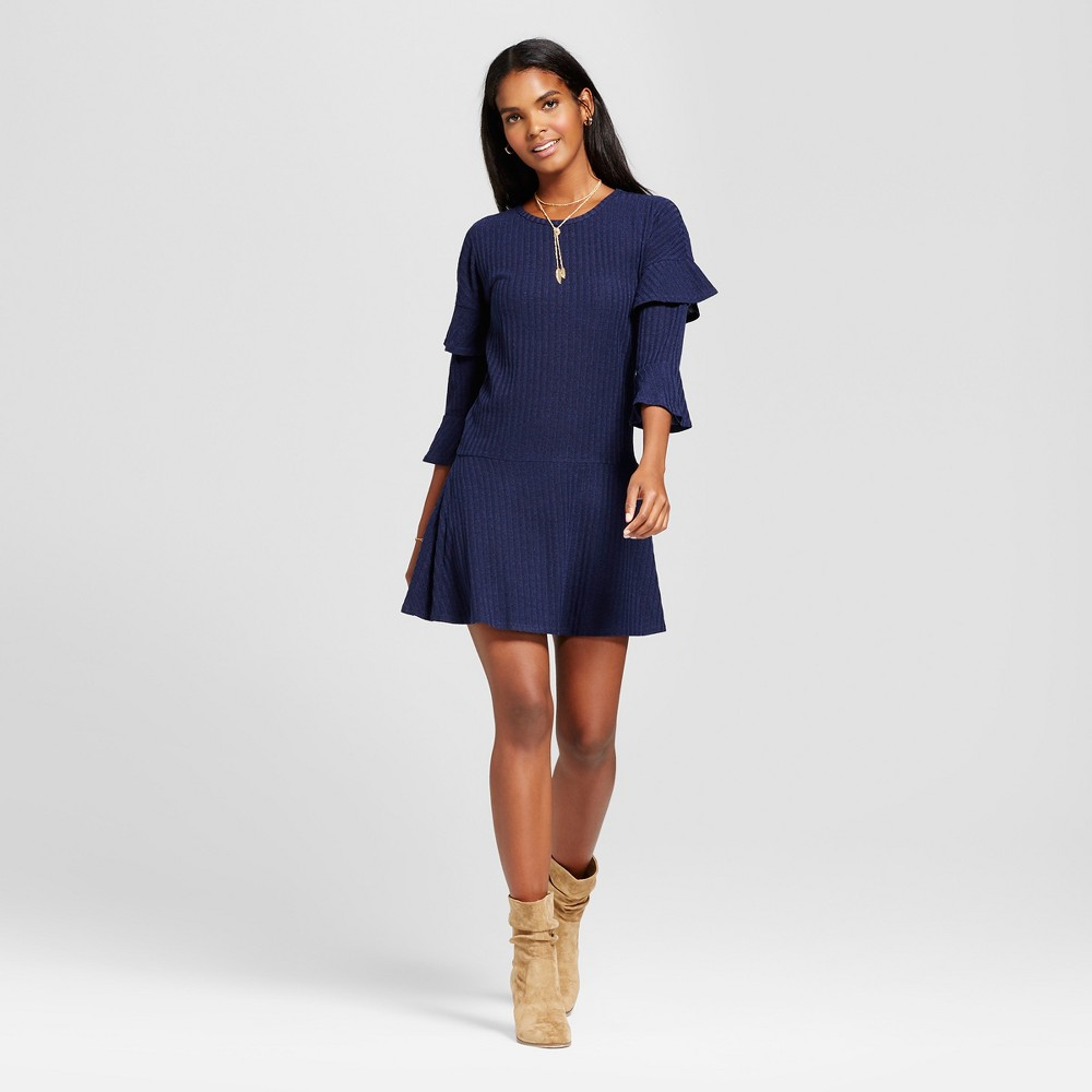 Womens Ribbed Ruffle Sleeve Sweater Dress - Éclair Navy S, Blue