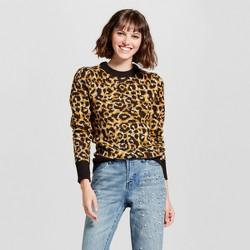 Women's Long Sleeve Jacquard Crew Neck Sweater - Who What Wear™ Leopard Print