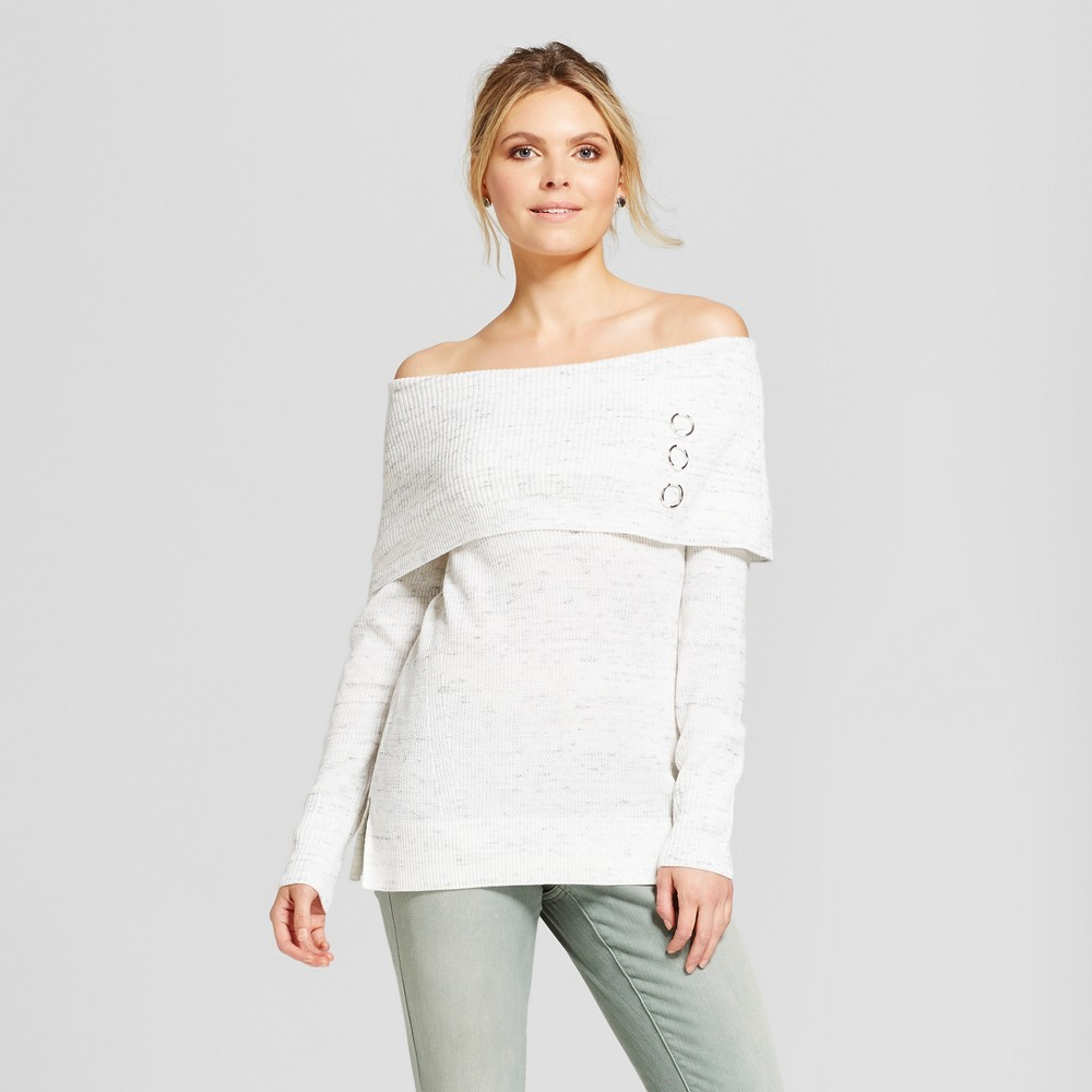 Womens 3 Ring Marilyn Neck Pullover Sweater - Simply by Love Scarlett White/Gray S, Beige
