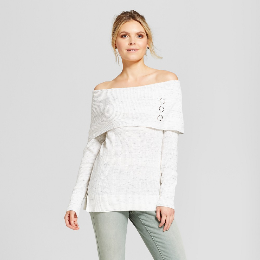 Womens 3 Ring Marilyn Neck Pullover Sweater - Simply by Love Scarlett White/Gray M, Beige