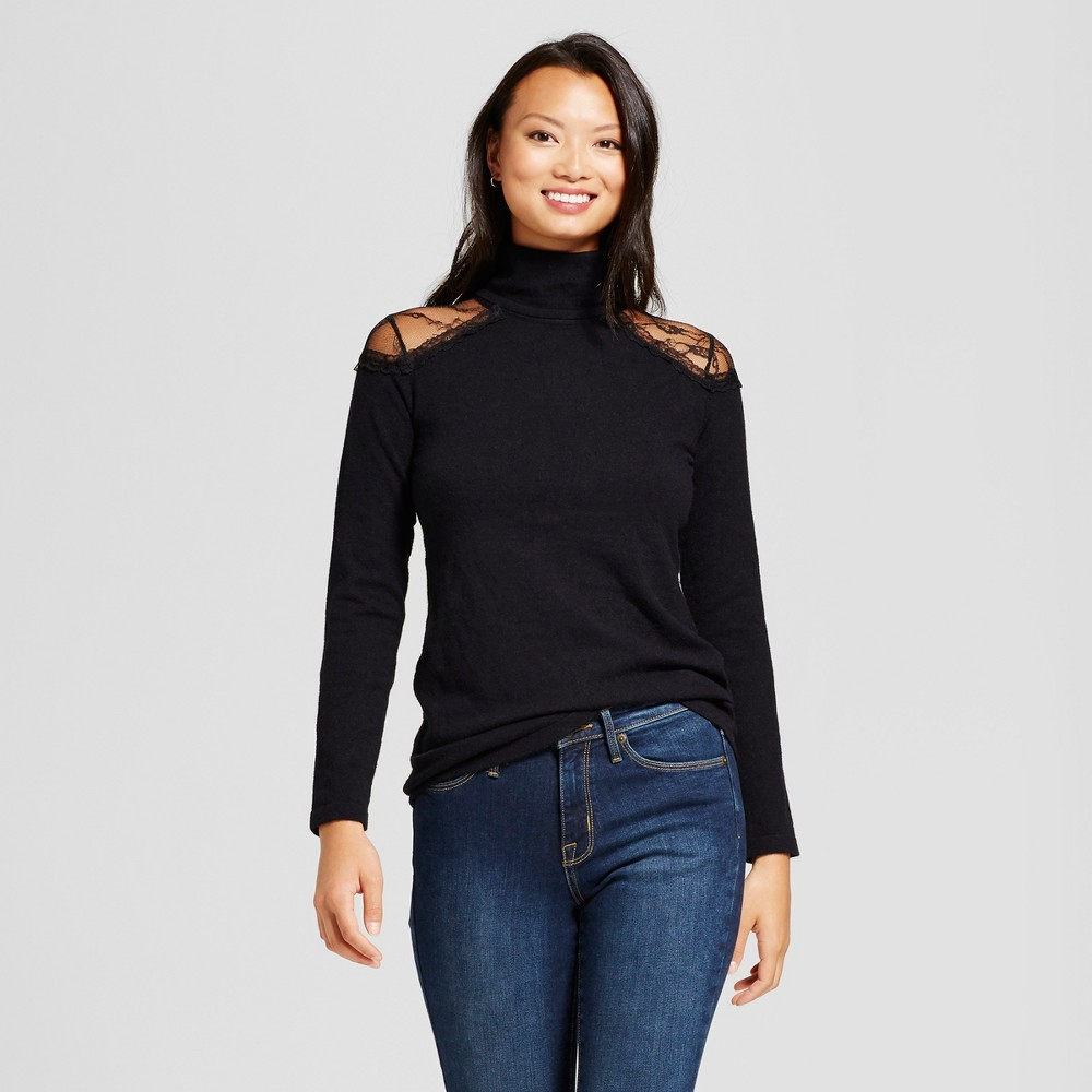 Womens Lace Cold Shoulder Turtleneck Sweater - Simply by Love Scarlett Black S