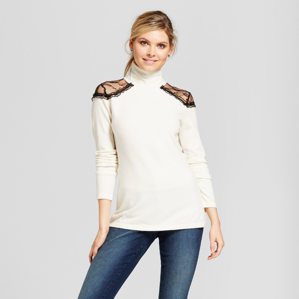 Womens Lace Cold Shoulder Turtleneck Sweater - Simply by Love Scarlett Cream/Black L, Beige